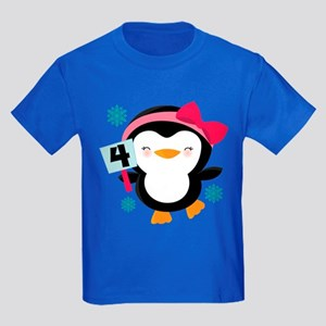 4th Birthday Penguin girl Kids Dark T-Shirt