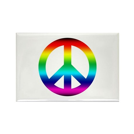 Rainbow Peace Sign Rectangle Magnet (100 pack)