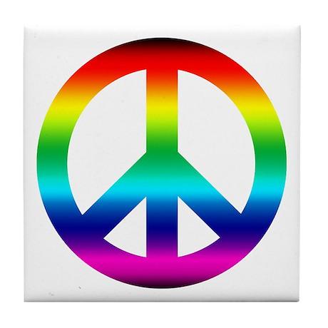 Rainbow Peace Sign Tile Coaster