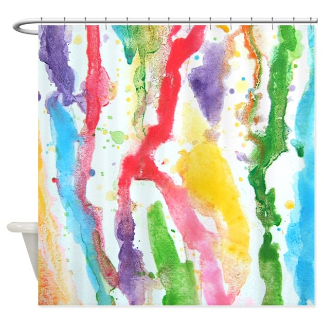 Funky Kitchen Curtains: Rainbow Funky Watercolor Shower Curtain By InspirationzStore