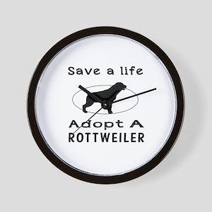 Adopt A Rottweiler Dog Wall Clock