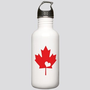 Canada Day Maple Leaf and Heart Water Bottle