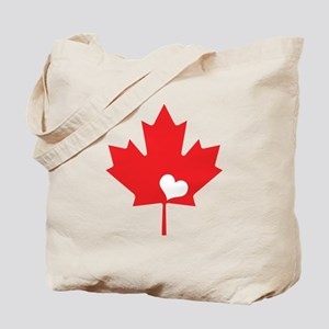 Canada Day Maple Leaf and Heart Tote Bag