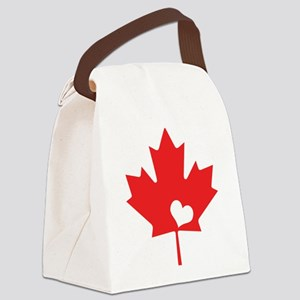 Canada Day Maple Leaf and Heart Canvas Lunch Bag