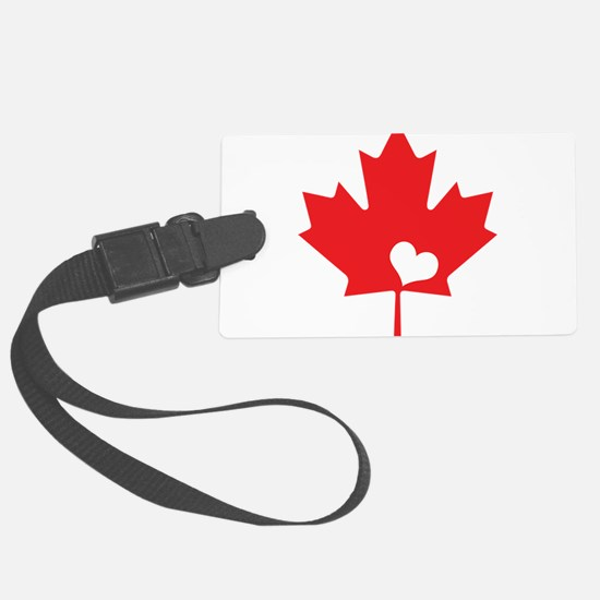 Canada Day Maple Leaf and Heart Luggage Tag