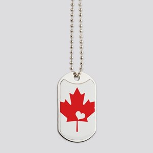 Canada Day Maple Leaf and Heart Dog Tags