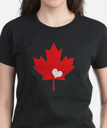 Canada Day Maple Leaf and Heart T-Shirt