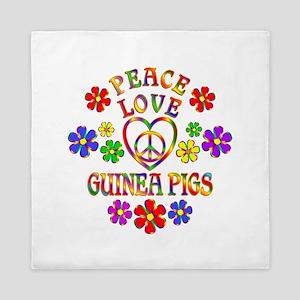 Peace Love Guinea Pigs Queen Duvet