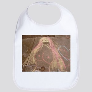 hippie lady chalk drawing on sidewalk Baby Bib