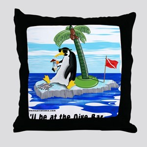 Penguin Dive Bar Throw Pillow