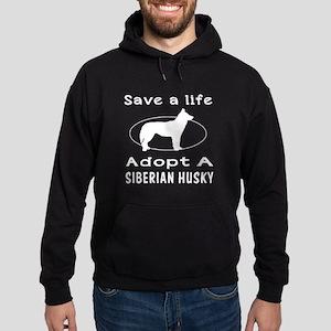 Adopt A Siberian Husky Dog Hoodie (dark)