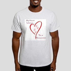 Beauceron Heart Belongs Ash Grey T-Shirt