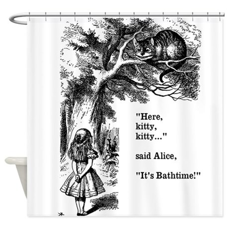 Alice in Wonderland cat Shower Curtain by InspirationzStore