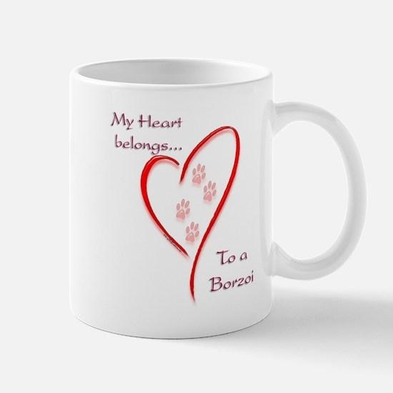 Borzoi Heart Belongs Mug