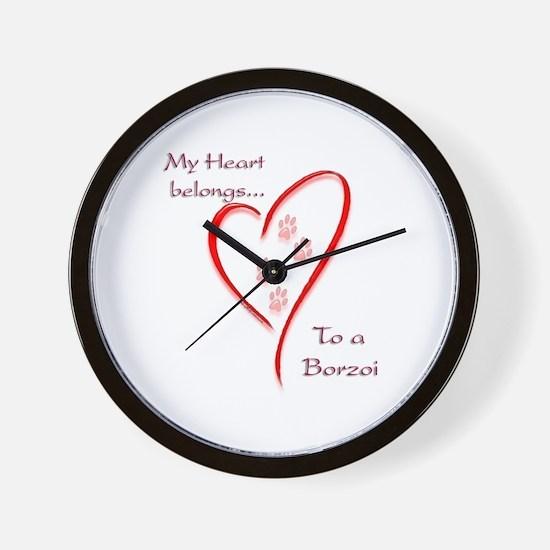 Borzoi Heart Belongs Wall Clock