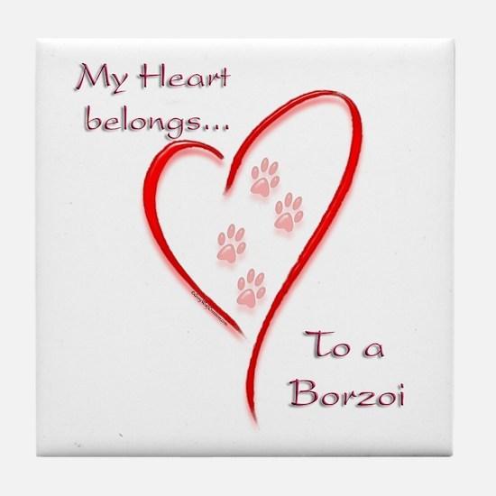 Borzoi Heart Belongs Tile Coaster