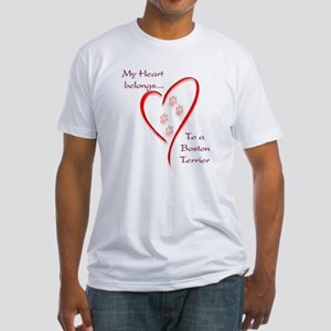 Boston Terrier Heart Belongs Fitted T-Shirt