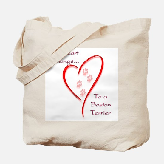 Boston Terrier Heart Belongs Tote Bag