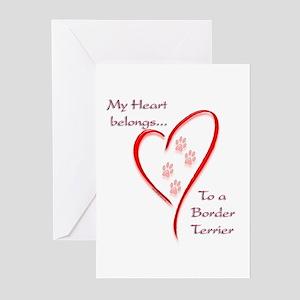 Border Terrier Heart Belongs Greeting Cards (Packa