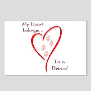 Briard Heart Belongs Postcards (Package of 8)