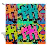 Graffiti And Black Cat Shower Curtain