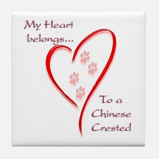 Crested Heart Belongs Tile Coaster
