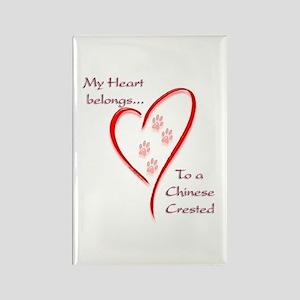 Crested Heart Belongs Rectangle Magnet