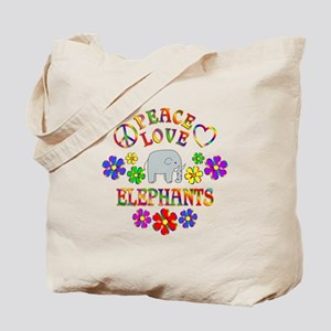 Peace Love Elephants Tote Bag