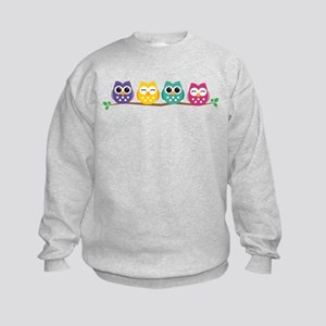 4 Colorful Owls Sweatshirt