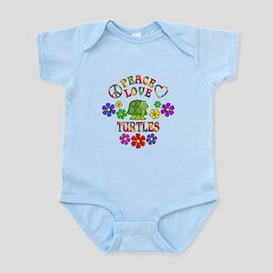 Peace Love Turtles Baby Light Bodysuit