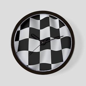 Black Racing Flag Checkerboard Wall Clock
