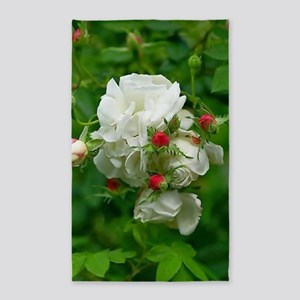 White Roses Floral Nature Art Area Rug