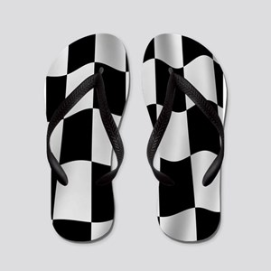 Black Racing Flag Checkerboard Flip Flops