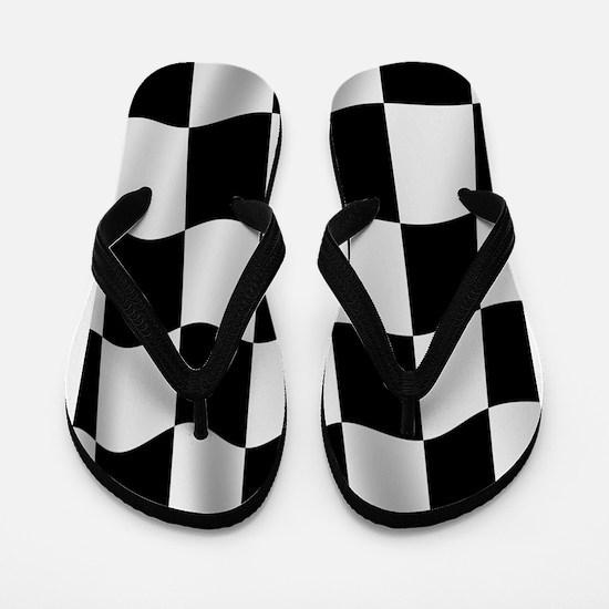Black Racing Flag Checkerboard Flip Flops