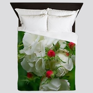 White Roses Floral Nature Art Queen Duvet
