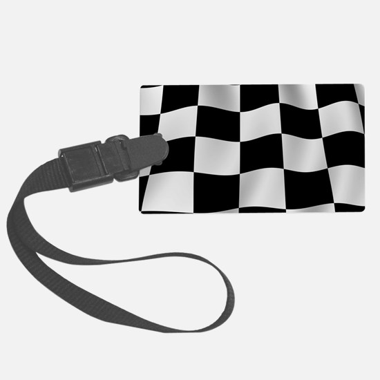 Black Racing Flag Checkerboard Luggage Tag
