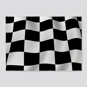 black racing flag checkerboard 5x7area rug