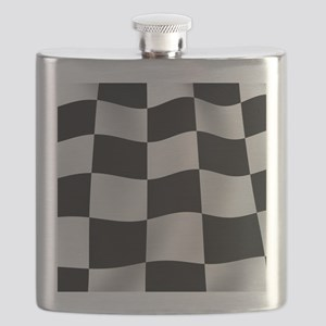 Black Racing Flag Checkerboard Flask