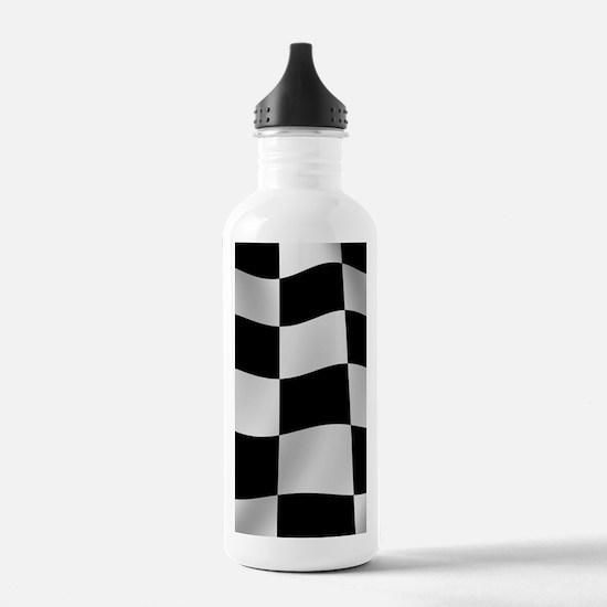 Black Racing Flag Checkerboard Water Bottle