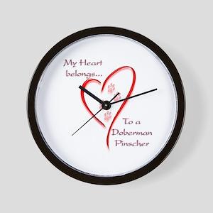 Doberman Heart Belongs Wall Clock