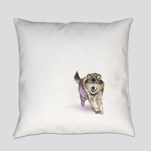 Happy Pouncing Wolf Everyday Pillow