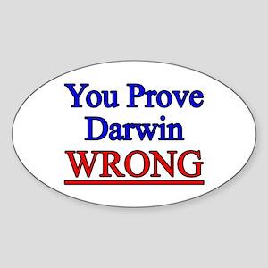 Proving Darwin Wrong Oval Sticker