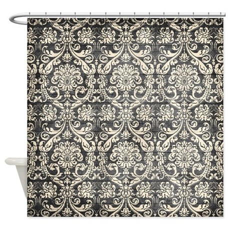 Popular Vintage Black White Damask Pattern Shower