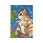 Christmas Tea Chipmunk Rectangle Magnet