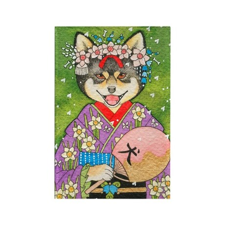Spring Shiba Inu Rectangle Magnet