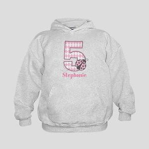 Personalized Pink Ladybug 5th Birthday Kids Hoodie