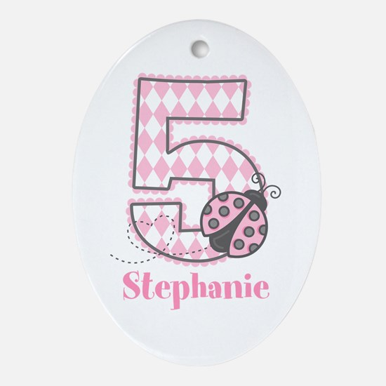 Personalized Pink Ladybug 5th Birthday Ornament (O