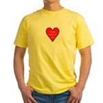 Valentine's Day Heart Yellow T-Shirt