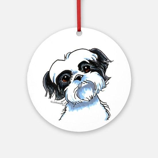 B/W Shih Tzu Art Ornament (Round)