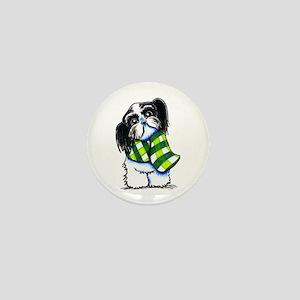 Shih Tzu B/W Scarf Mini Button